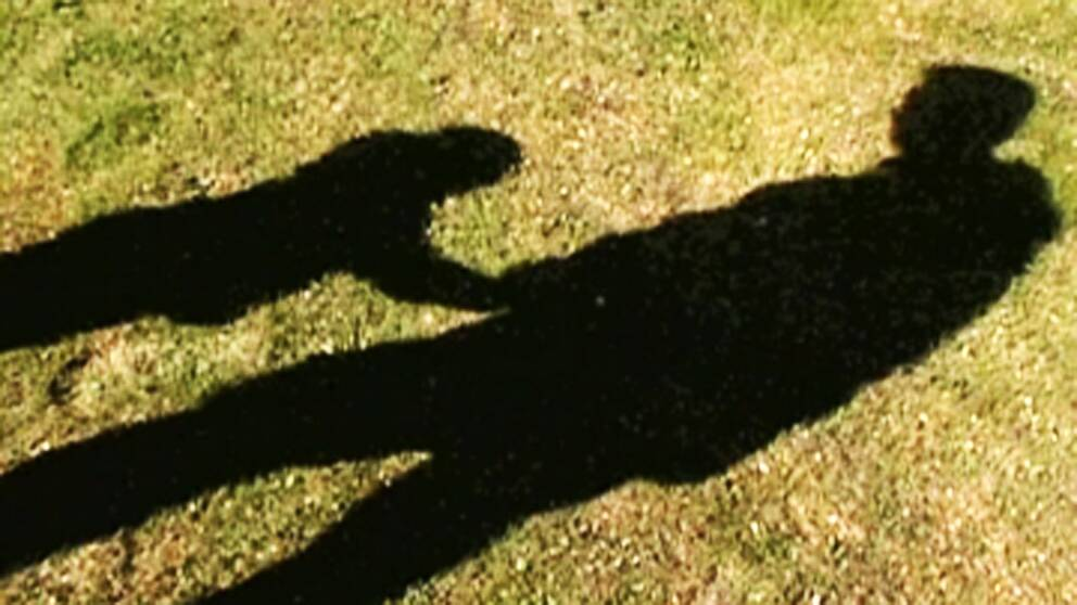 genrebild på skuggor av man och litet barn på en gräsmatta