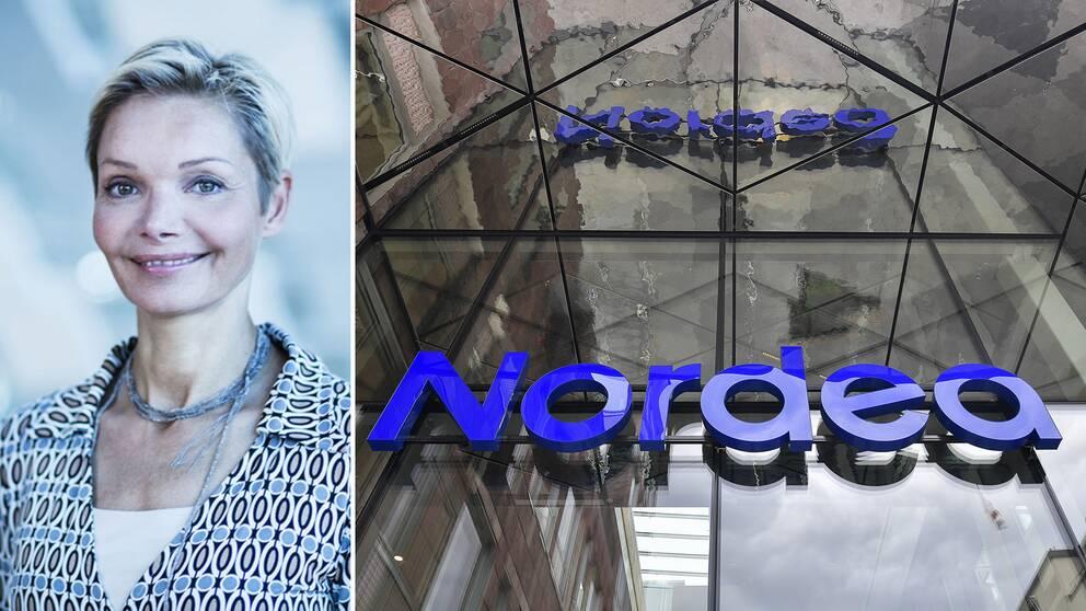 Nordeas personalchef Karen Tobiasen och koncernens huvudkontor i Stockholm.