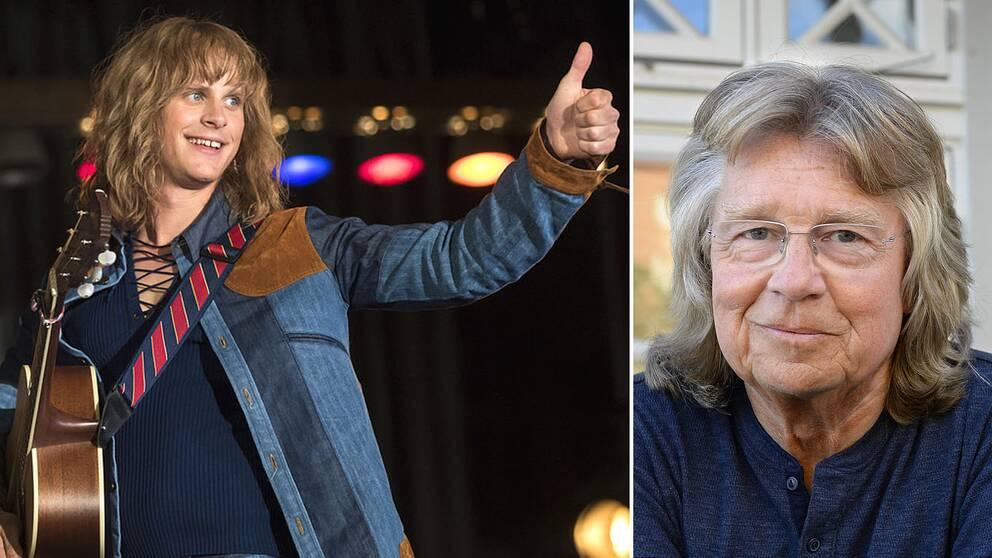 Till vänster: Adam Pålsson som Ted Gärdestad i filmen Ted – för kärlekens skull. Till höger: Gitarristen Janne Schaffer.