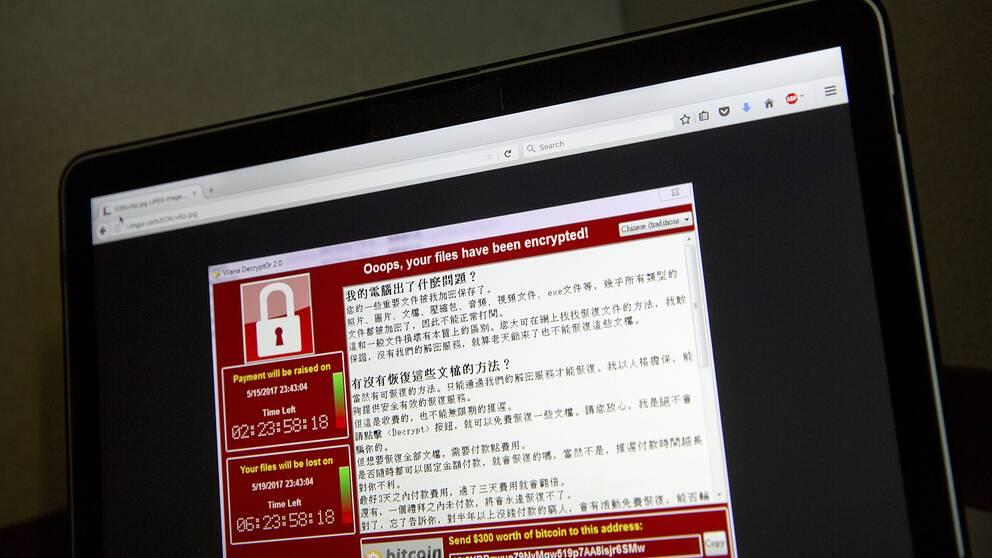 En dator som utsatts för en cyberattack.