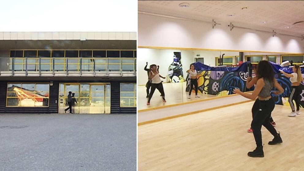 Ungdomens hus i Rinkeby i ena bilden och dansare i danssal framför spegelvägg i andra bilden.