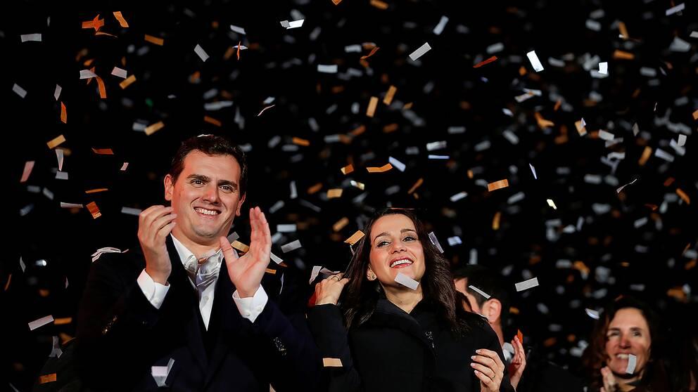 Ines Arrimadas, ledare för Ciudadanos i Katalonien, och Albert Rivera, nationell partiledare