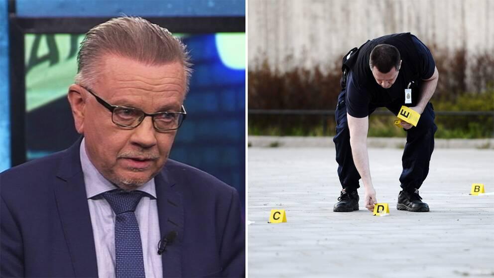 Till vänster Bo Wennström, professor i rättsvetenskap. Till höger en brottsplats.
