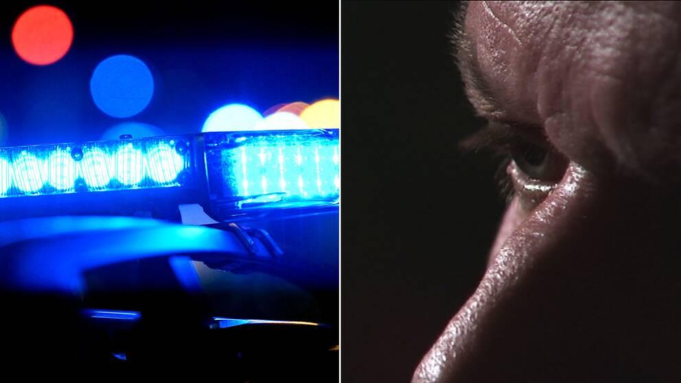 """Polissirener och en närbild på informatören """"Anders""""."""