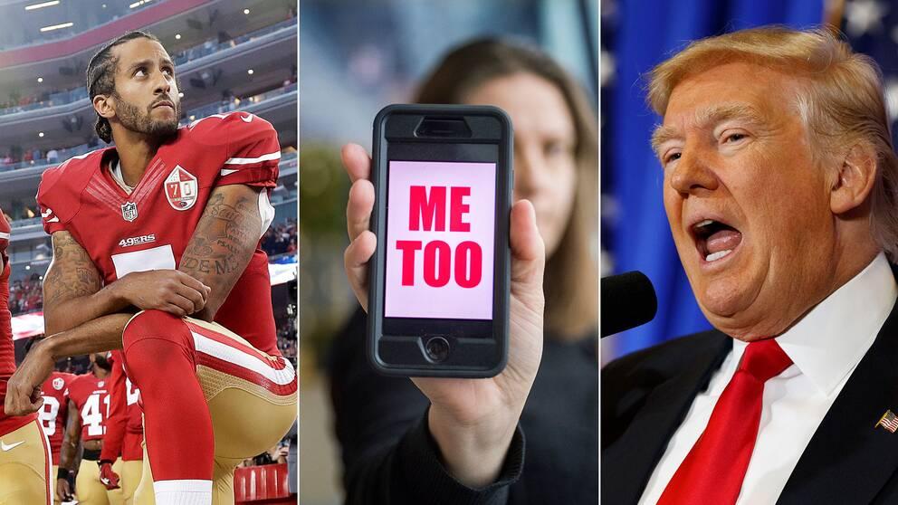 Den amerikanske fotbollsspelaren Colin Kaepernick, en metoo-logga och Donald Trump.