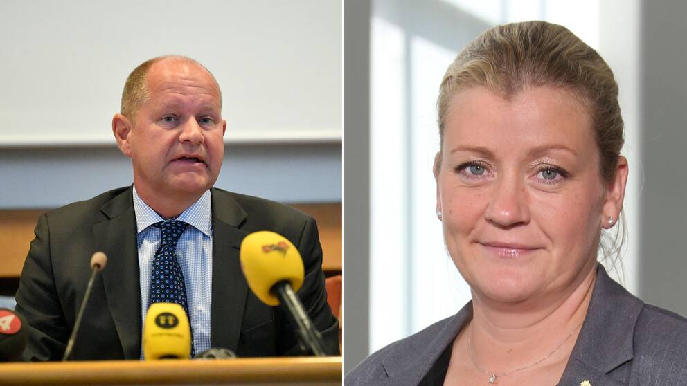 Rikspolischef Dan Eliasson och Polisförbundets förste vice ordförande Anna Nellberg Dennis.