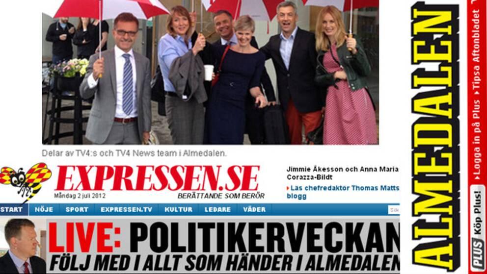 Redaktionerna storsatsar inför Almedalen. Skärmdumpsmontage: Kulturnyheterna