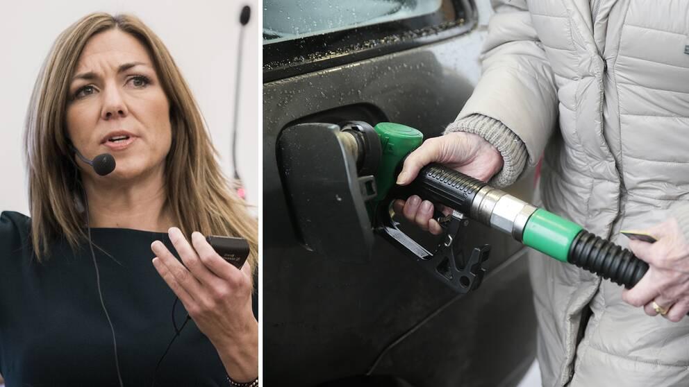 Thina Saltvedt, oljeanalytiker på Nordea, och en kvinna som tankar bilen.