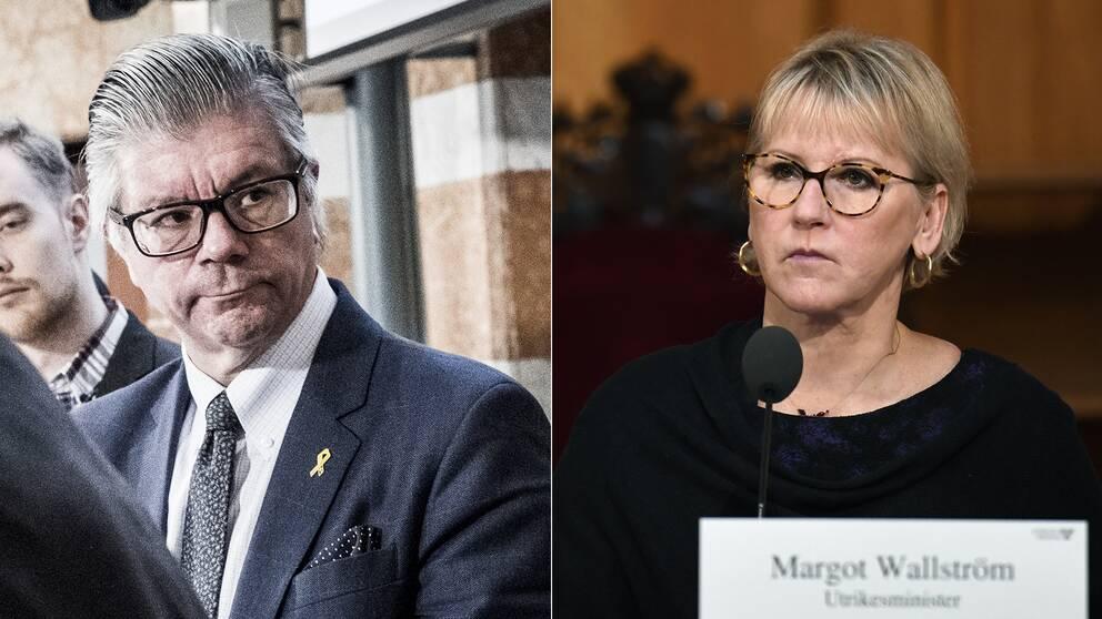 Moderaternas forsvarspolitiske talesperson Hans Wallmark riktar kritik mot Margot Wallström.