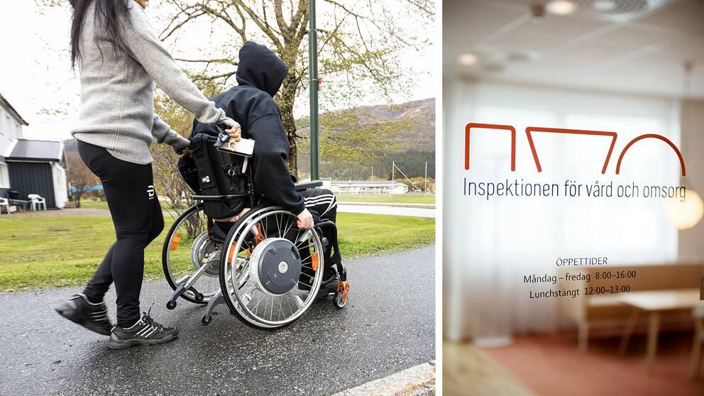Person i rullstol och skylt på kontor tillhörande institutionen för vård och omsorg