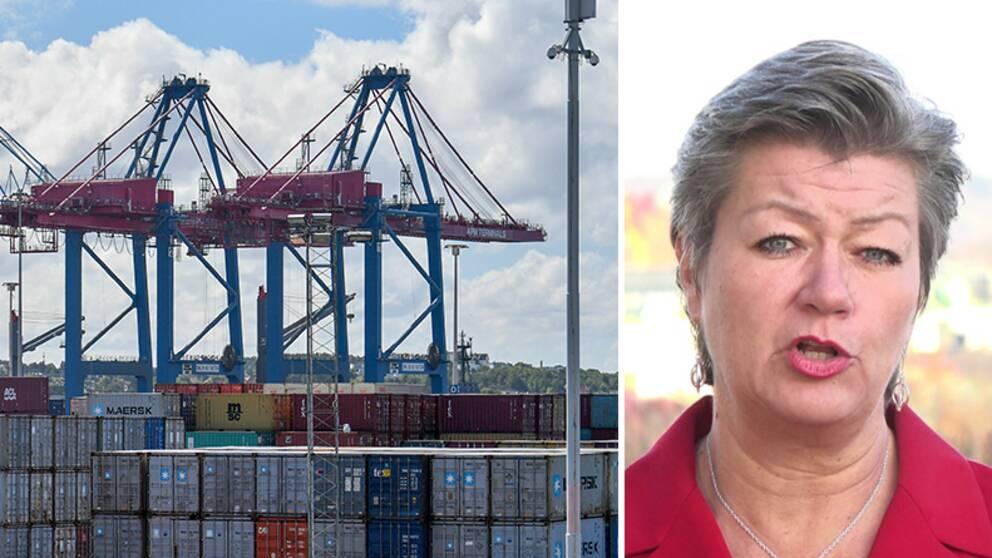 Arbetsmarknadsminister Ylva Johansson (S) får kritik av vänsterjurister om förslaget att begränsa strejkrätten.