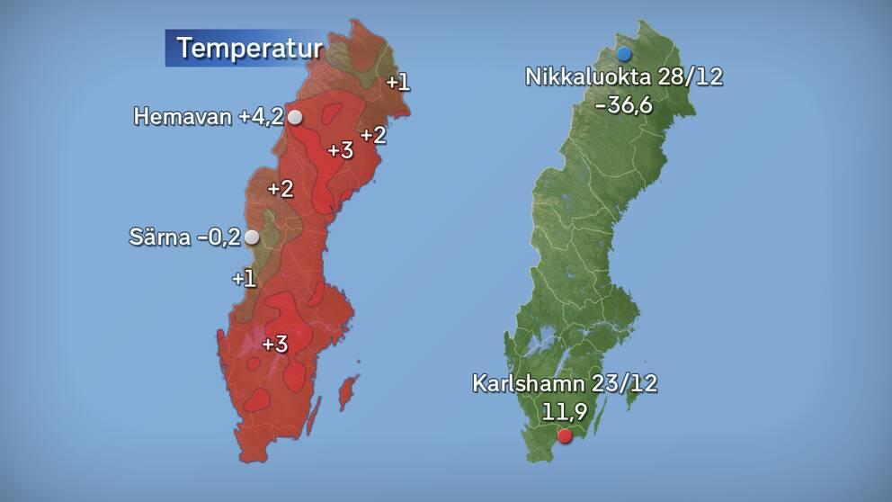 Till vänster månadens medeltemperatur jämfört med referensperioden 1961–1990 (och de stationer som fick störst/minst över/underskott). Till höger månadens högsta och lägsta temperatur. Källa: SMHI.
