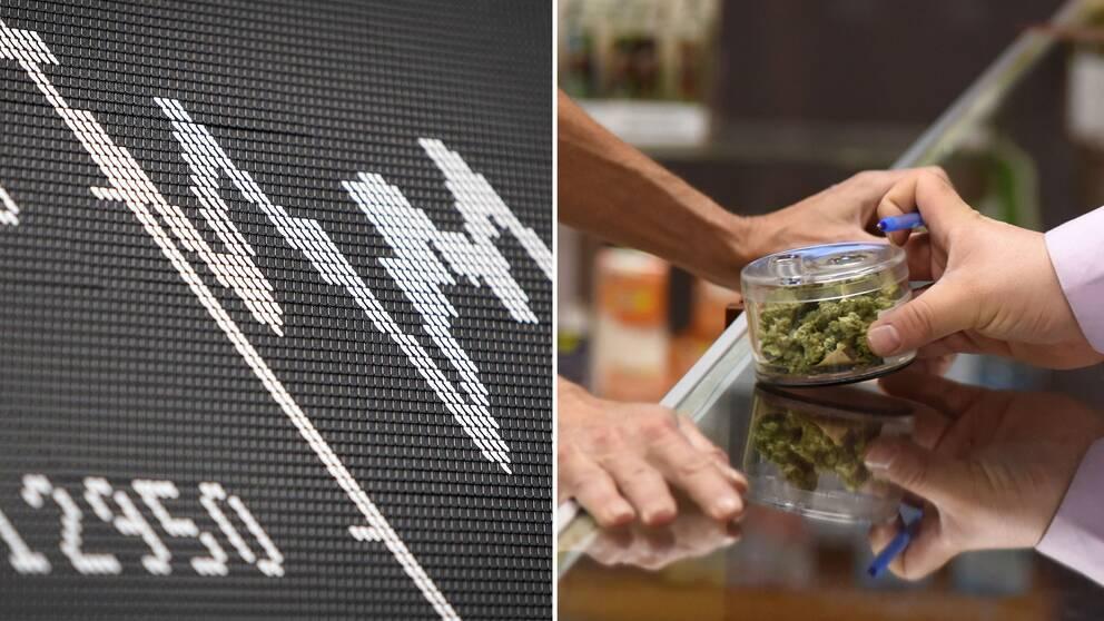 Börstavla till vänster, cannabis handlas lagligt i Kalifornien till höger.