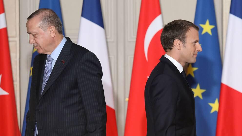 Turkiets president Recep Tayyip Erdogan och Frankrikes president Emmanuel Macron
