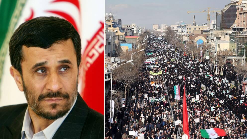 Mahmoud Ahmadinejad samt protester i Iran tidigare i veckan