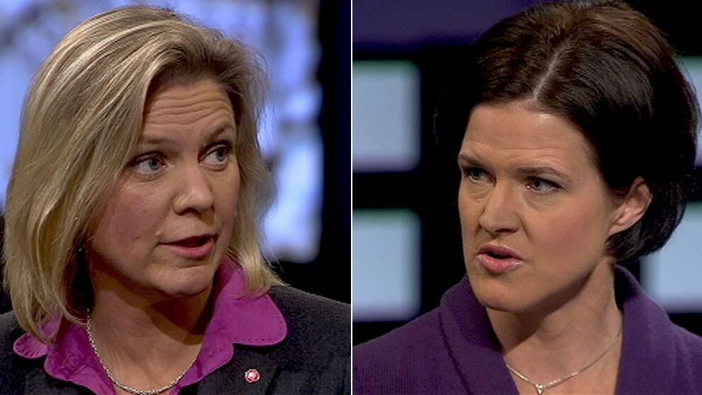 Magdalena Andersson (S) och Anna Kinberg Batra (M) drabbade samman om skattepolitiken i Agenda.