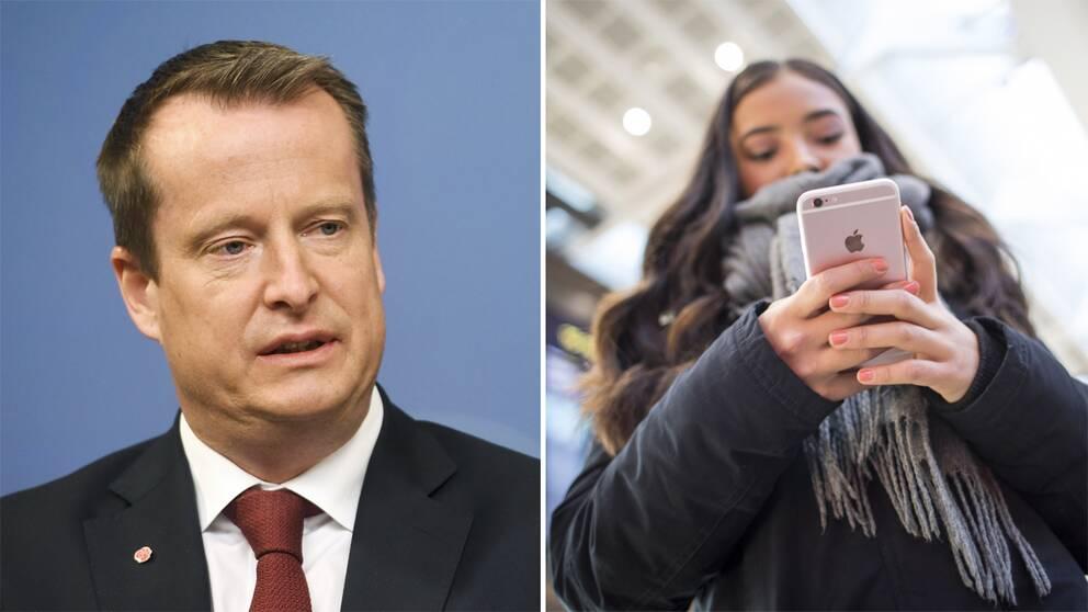 Anders Ygeman vill ha ett förbjud mot oregistrerade kontantkort till mobiler.