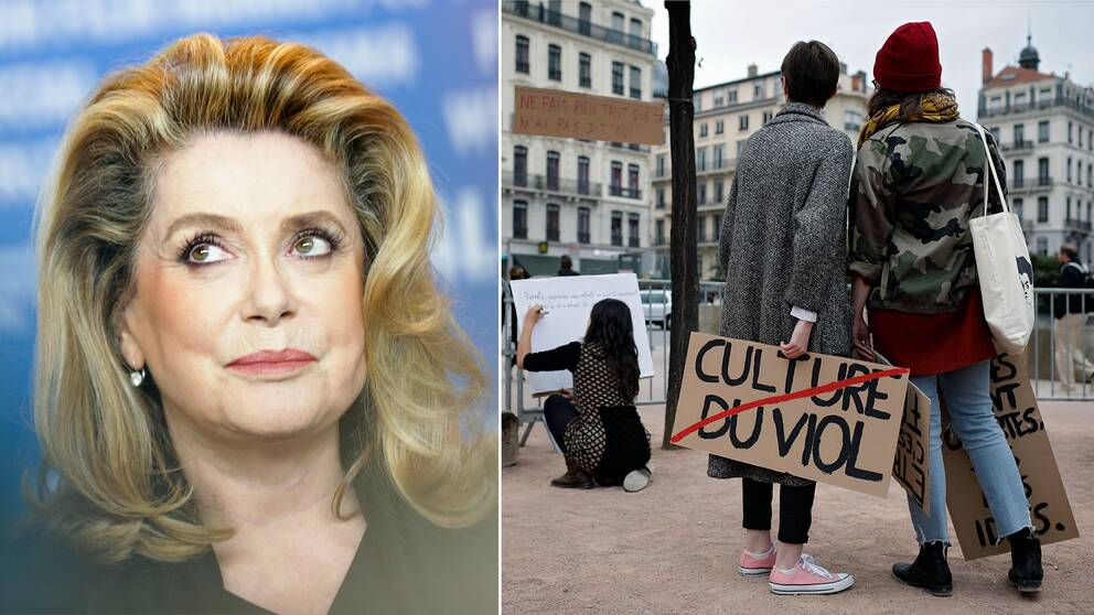 Catherine Deneuve och franska metoo-demonstranter.