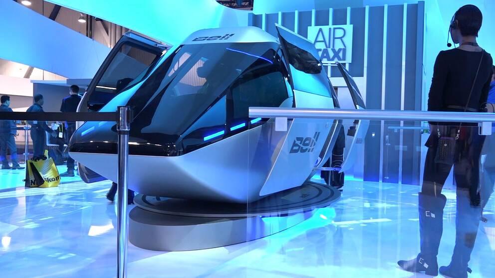 Bell Air Taxi, ett flygande och miljövänligt fordon ska bli framtidens sätt att resa och visas upp under teknikmässan CES i Las Vegas.