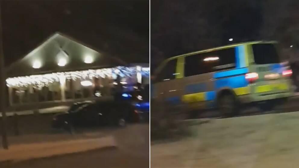 Stort polispådrag efter skottlossningen på pizzerian i Uppsala.