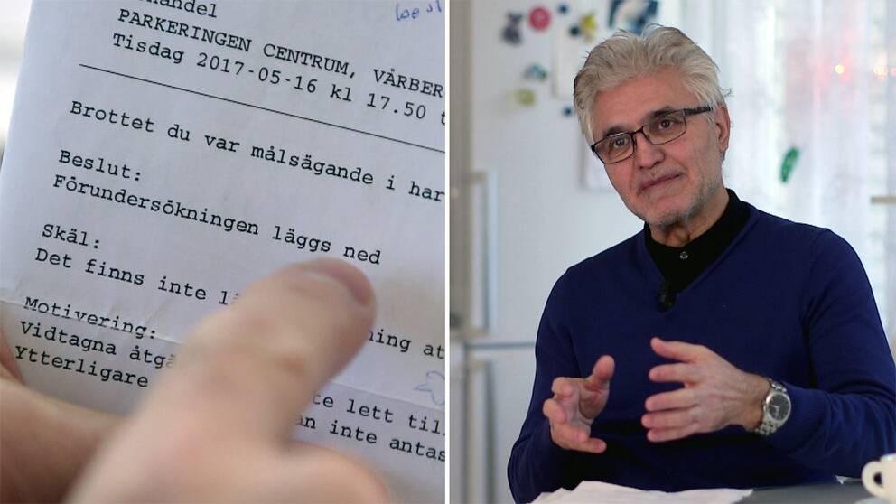 """Till vänster ett brev från polisen med texten """"Förundersökningen läggs ner"""". Till höger Hamid Shabany sitter i sitt kök. Med en kaffekopp framför sig och med förundersökningen på bordet."""