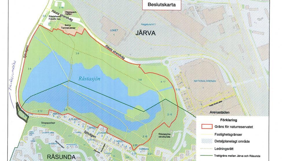 Utformningen av Råstasjöns naturreservat.