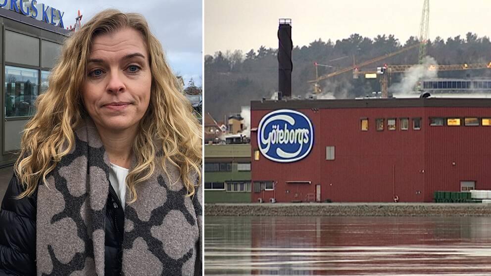 Malin Jennerholm, vd på Orkla Confectionery & Snacks Sverige, vid Göteborgs kex fabrik i Kungälv.