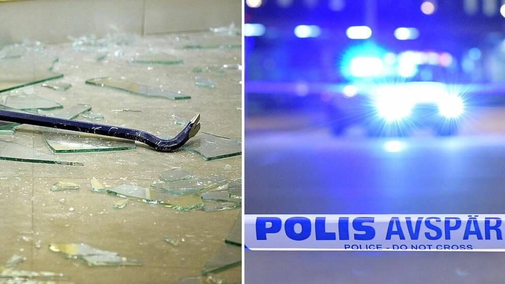 En kofot på krossat glas och en polisavspärrning.