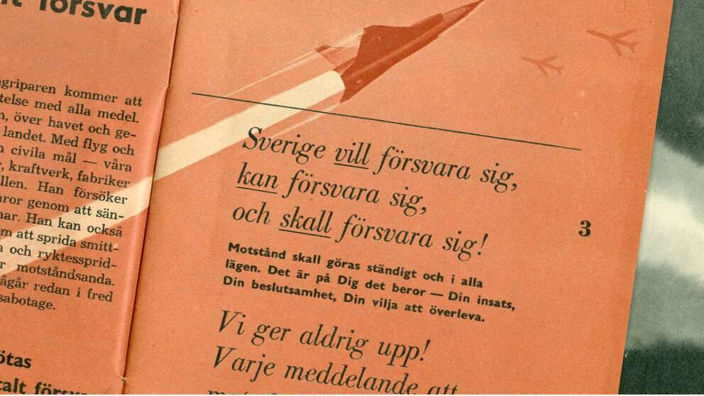 """I den gamla broschyren """"Om kriget kommer"""" från 1961 ville man höja försvarsviljan vid ett krig."""