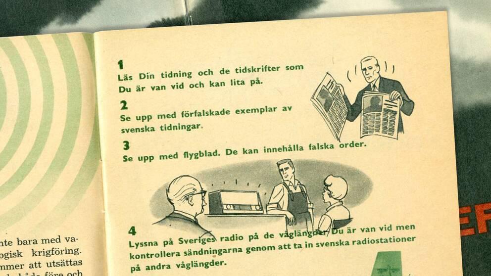 """Även i den gamla broschyren """"Om kriget kommer"""" uppmanas allmänheten att se upp med falska nyheter."""
