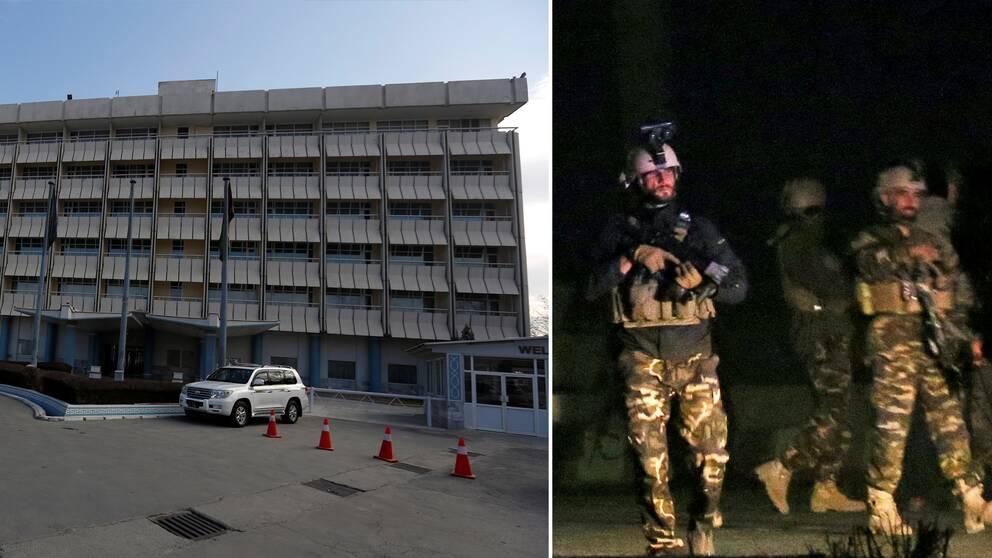 Afghanska säkerhetsstyrkor på plats vid Hotel Intercontinental i Kabul.