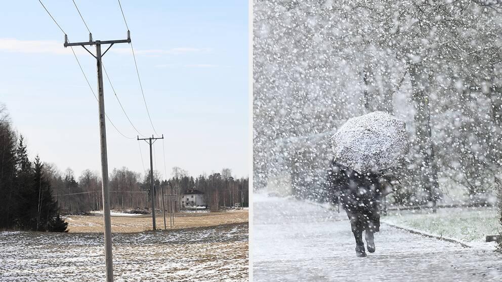 Till vänster syns elledningar. Till höger en person som går i ett snöfall med ett paraply i handen.