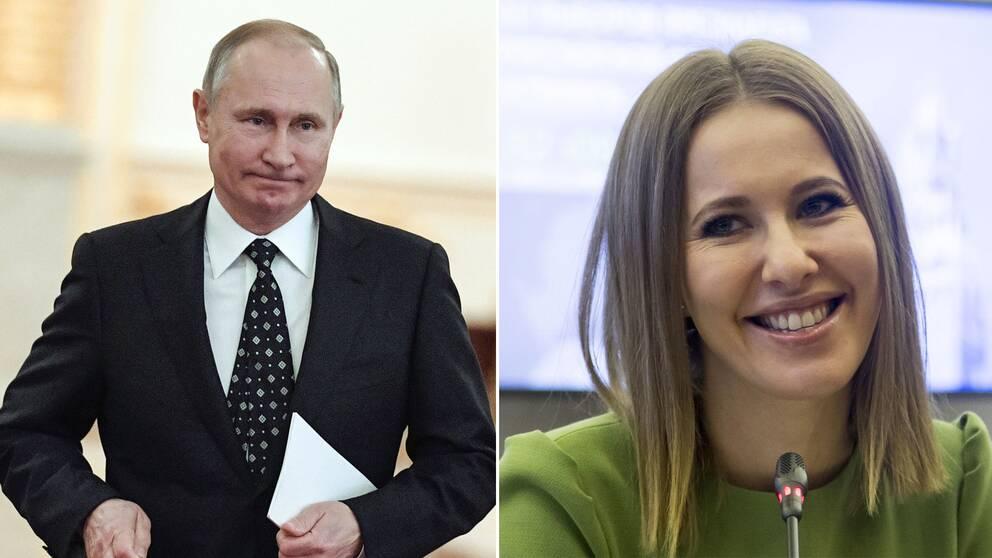 Rysslands president Vladimir Putin och kandidat till posten Ksenia Sobtjak.
