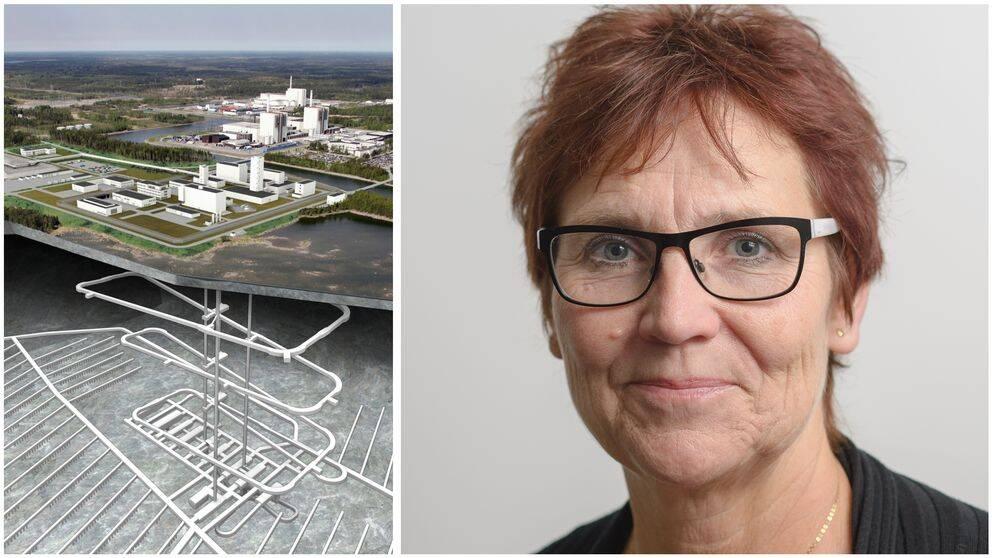 Bild på den slutförvarsmetod som SKB föreslagit och Östhammars kommunalråd Margareta Widen-Berggren (S)