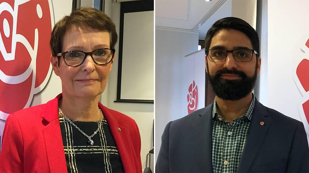 Ingrid Andreae (S), till vänster, tar över efter Tord Karlsson som ordförande för utbildningsnämnden. Shahbaz Khan (S), till höger, tar över efter Johan Nyhus som ordförande för trafiknämnden.