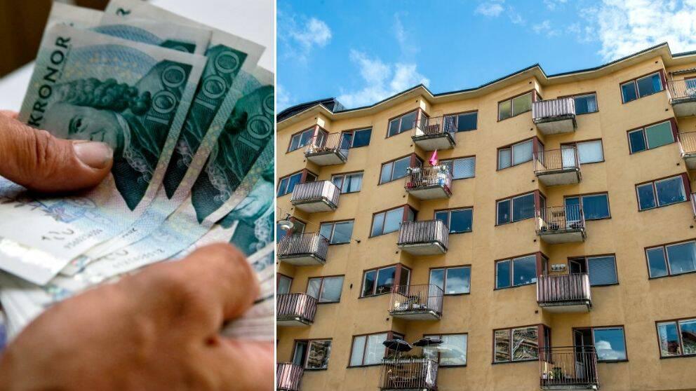 händer som håller sedlar, vy upp mot fasaden på högt hus med balkonger