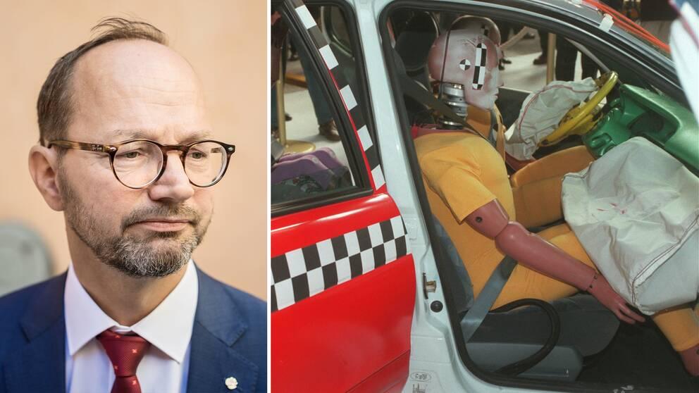 porträtt en man, samt dockor i bil i krocktest