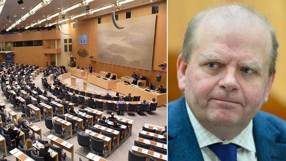 En bild inifrån riksdagen och före detta landsbygdsminister Eskil Erlandsson.