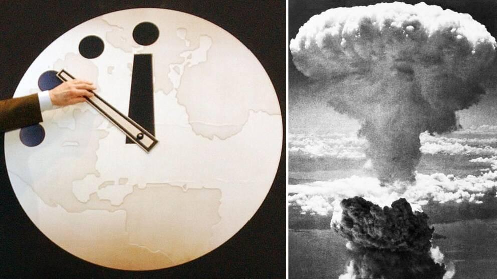 En hand flyttar på Domedagsklockan ihopsatt med en bild från en atombombs rökmoln.