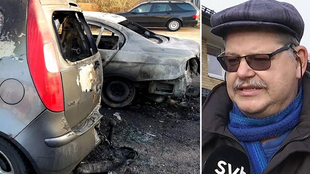 Lars-Åke Olausson, Lilla Tjärby, säger att det känns otryggt efter de senaste nätternas bilbränder i Laholm.