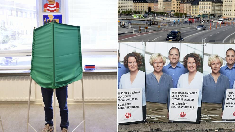 Till vänster en person röstar i en vallokal. Till höger socialdemokratiska affischer från förra valet.