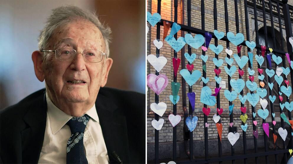 Till vänster Yehuda Bauer. Till höger lappar med hjärtan uppsatta utanför synagogan i Göteborg.
