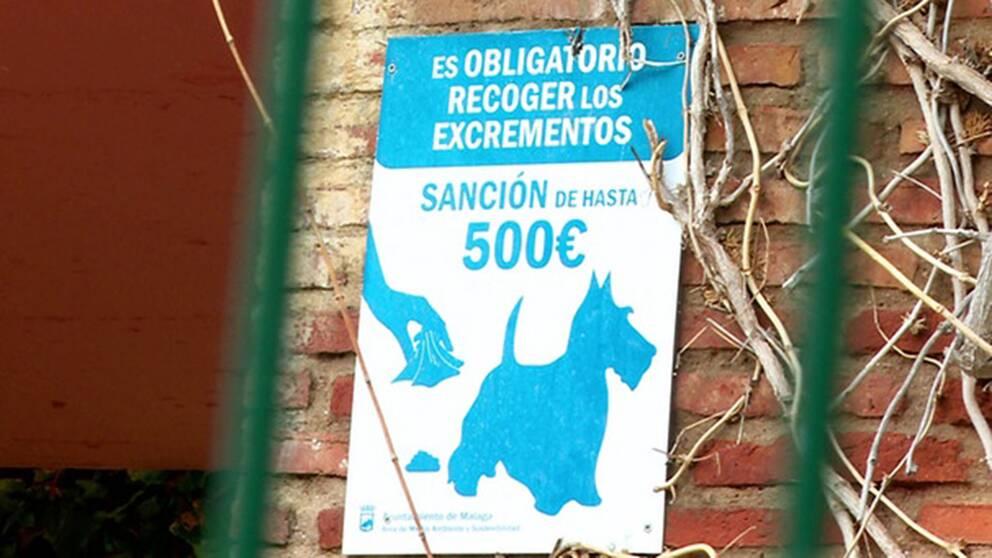 Nästan 5000 kronor får man böta i Malaga om man inte plockar upp efter sin hund.