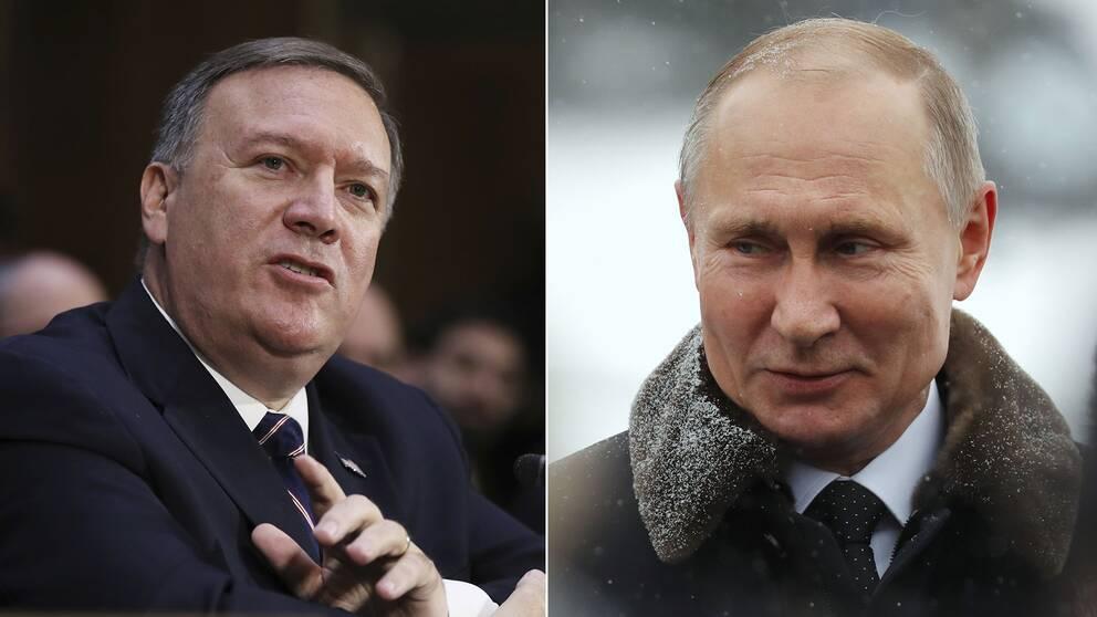 Mike Pompeo och Vladimir Putin.