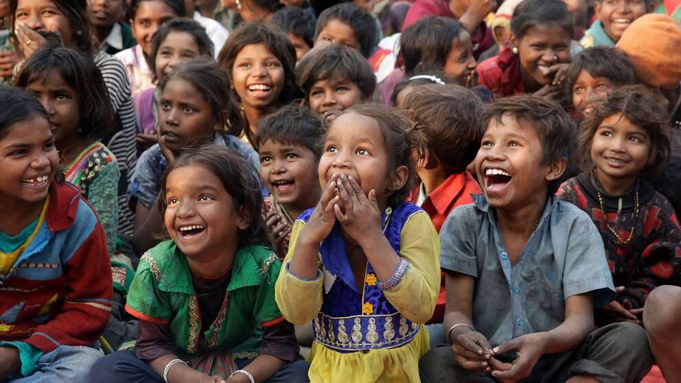 Barn i Allahabad, Indien. Arkivfoto.