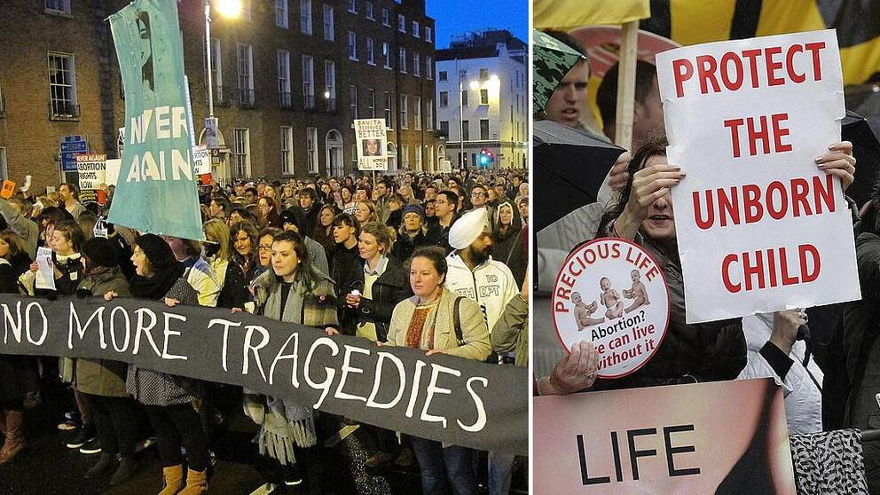 Personer som protesterar för och emot laglig abort i Irland.