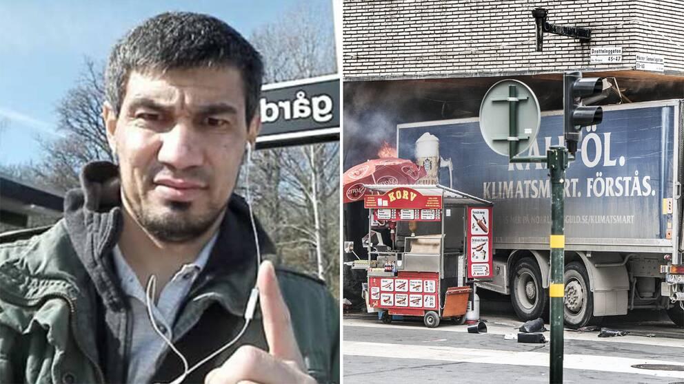 Till vänster en bild föreställande misstänkte terroristen Rakhmat Akilov ståendes framför Vårby Gårds tunnelbaneskylt. Till höger lastbilen när den kört in i Åhlens på Drottninggatan.