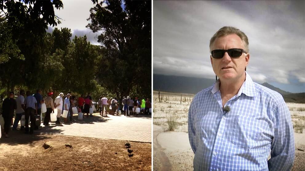Till vänster människor som köar till en vattenkälla. Till höger Peter Johnston vid Theewaterkloof dam, Kapstadens främsta källa till färskvatten.