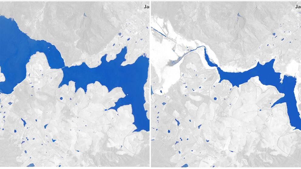 En vit karta med blåa fält som markerar vatten. På den vänstra bilden är det betydligt mer vatten än den högra.