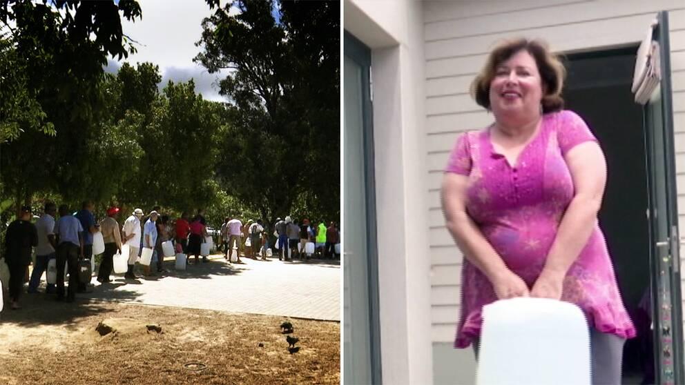 Till vänster människor som köar för att hämta vatten. Till höger Helen bär en stor vattendunk.